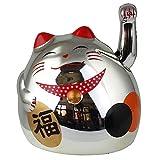 Superfreak® Winkekatze Glückskatze winkende Katze Maneki Neko, Farbe silber, Größe 8cm