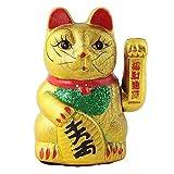 Superfreak® Winkekatze Glückskatze winkende Katze aus Keramik°Maneki Neko, Größe: 17 cm - gold