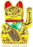 Winke-Katze Maneki Neko Glücks-Bringer Glückskatze Dekoration Gold XXL Riesige 30 cm Maskottchen aus Plastik