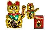 Winkekatze Glückskatze Maneki Neko XXL 35 cm Goldfarben mit links winkender Pfote