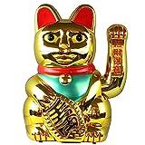 Superfreak® Winkekatze Glückskatze winkende Katze Maneki Neko, Farbe gold, Größe 45cm