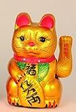 Winkekatze Maneki Neko 26 cm gold Glückskatze groß