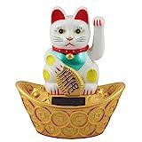 Superfreak® Winkekatze Glückskatze winkende Katze Maneki Neko Solar, Farbe weiß, Größe 14cm