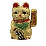 KERAMIK Glückskatze 17cm Winkekatze Maneki Neko ~ GOLD ~ Feng Shui Glücksbringer