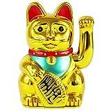 "UOOOM Glückskatze Winkekatze Glücksbringer Chinesische Glücks Katze Fengshui Deko Figur Dekoartikel Höhe 5"" / 13cm (Gold)"