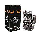 PARTS4LIVING Winkekatze Glückskatze Glücksbringer winkende Katze schwarz 15 cm