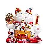 Maneki Neko Winkekatze Glückskatze Glücksbringer Winkende Katze aus Porzellan, Lucky Waving Cat, Weiß L26xW22xH23CM,D