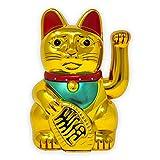 Starlet24 winkende Glückskatze Winkekatze Lucky Cat Maneki-Neko Katze Glücksbringer (Gold Glänzend, 30cm)