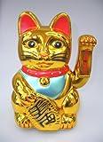 yoaxia ® - 30cm Glückskatze ~ Winkekatze Maneki Neko ~ Fortune Cat GOLD ~ Feng Shui Glücksbringer + ein kleines Glückspüppchen - Holzpüppchen