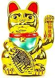 Nerd Clear Winkekatze in Gold | chinesische Maneki Katze | Neko Glückskatze | batteriebetrieben: Größe: 30cm