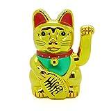 Starlet24 winkende Glückskatze Winkekatze Lucky Cat Maneki-Neko Katze Glücksbringer (Gold Glänzend, 40cm)