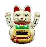 HAAC Solar Winkekatze Katze Glückskatze Glücksbringer mit 2 Hände 10 cm Farbe weiß