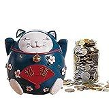 Mmyunx Sparschwein Für Kinder, Großraum-Spardose, Cartoon-Sparschwein Sparbüchse Glückskatze XXL,Blue