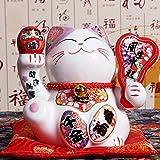 ZAAQ 5 Zoll Japanische Keramik Maneki Neko Statue Porzellan Glückliche Katze Spardose Glückskatze Feng Shui Hause Tischdekoration Geschenke