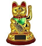 HAAC Solar Winkekatze Katze Glücksbringer Glückskatze 13 cm Farbe Gold rot