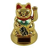 "Solar-Winkekatze LUCKY CAT GOLD 5"""