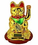 HAAC Solar Winkekatze Katze Glückskatze Glücksbringer 16 cm Farbe Gold rot