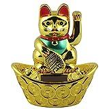 Superfreak Glückskatze - Maneki-Neko - Winkekatze Solar - ovaler Sockel - 14 cm - Gold