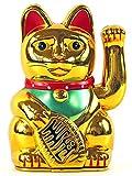 Winkekatze Glückskatze Maneki Neko, verschiedene Farben und Größen (13 cm, gold)
