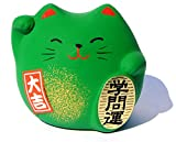 Winkekatze Maneki Neko Feng Shui, Glücksbringer Bildung und Wissen, Grün