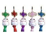 Maneki-neko Pendant-Set - 5 Elegante Anhänger mit süsser Glückskatze aus Porzellan