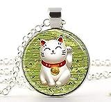 Lucky Cat Halskette, Grün Maneki Neko Glücksbringer Art Anhänger