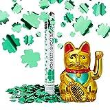 2 tlg. Glücks-Set, Maneki Neko Winkekatze, Party Popper Kleeblatt, Glückskatze gold, Konfetti Kanone grüner Glücksregen