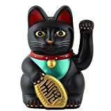 Superfreak® Winkekatze Glückskatze winkende Katze Maneki Neko, Farbe schwarz, Größe 13cm